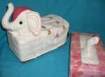 T-elep-20 Stuffed Elephant Head White-red Tissue Box Cover