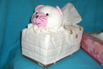 T-pig-13 Stuffed Baby Pig Head pink-white Tissue Box Cover