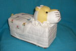 T-tiger-16 Stuffed Tiger Head White-yellow Tissue Box Cover