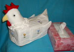 T-hen-17 Stuffed Hen Head White-yellow-red Tissue Box Cover